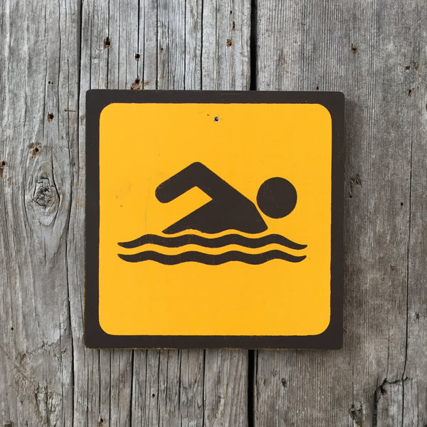 Handmade Vintage Park Swimming Swim Water Outdoors Sport Icon Sign