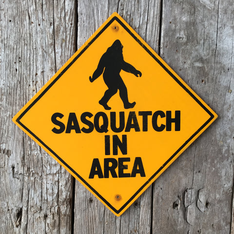 Handmade Vintage Bigfoot Sasquatch In Area Warning Sign