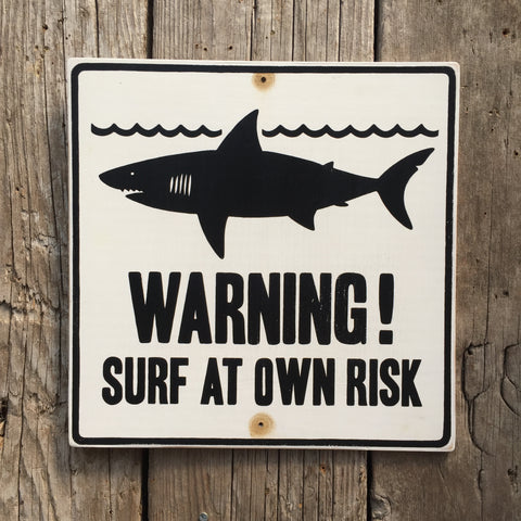 Handmade Vintage Shark Surf Warning Sign