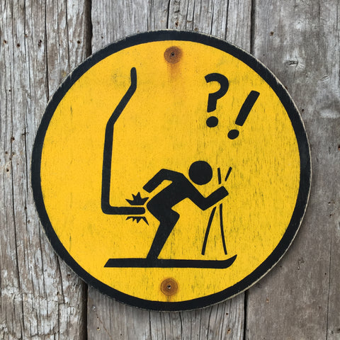Handmade Vintage Ski Hill Chairlift Stickman Warning Sign