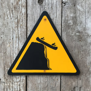 Handmade Vintage Canoe Waterfall Stickman Warning Sign