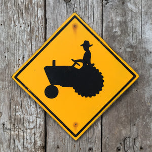 Handmade Vintage Tractor Farming Highway Road Sign