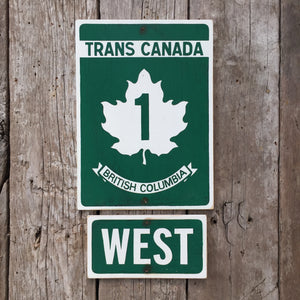 Handmade Vintage Trans Canada Highway Road Sign