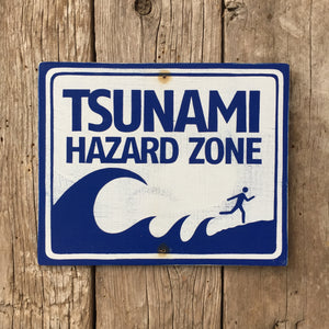 Handmade Vintage Tsunami Hazard Zone Beach Stickman Warning Sign