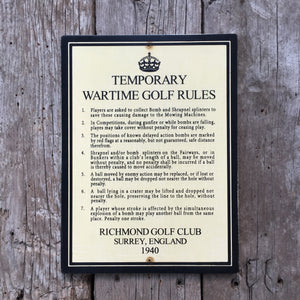 Handmade Vintage WWII Temporary Wartime Golf Rules Sign