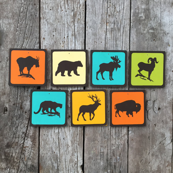 Rocky Mountain Wildlife Park Icon Sign Set | Handmade Vintage | Campground Signs | National Park | State Park | Provincial Park | Outdoors