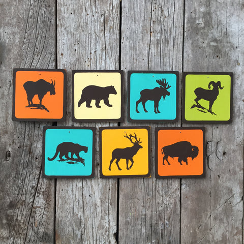 Handmade Vintage Wildlife Animal Park Outdoors Icon Sign Set