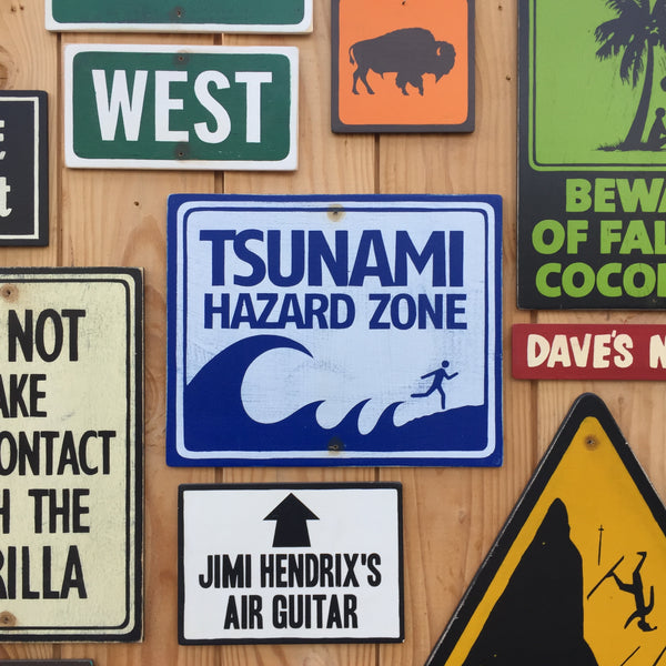 Tsunami Hazard Zone Warning Sign | Handmade Vintage | Coastal Beach Themed Danger Sign | Tropical Ocean High Surf Sign