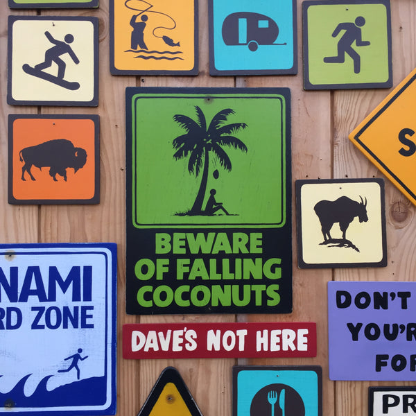 Beware Of Falling Coconuts Warning Sign | Handmade Vintage | Tropical Island Beach Sign | Coastal Surfing Ocean Sign | Coconuts