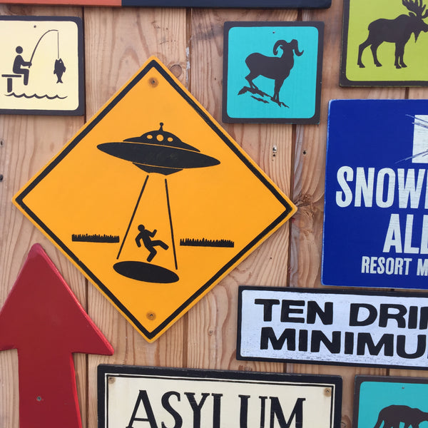 Alien Abduction UFO Warning Sign | Handmade Vintage | Flying Saucer Space Art | Extraterrestrial Sci-fi Themed Decor