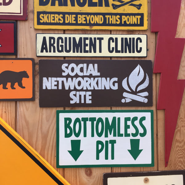 Social Networking Site Sign | Handmade Vintage | Funny Campfire Sign | Campground Sign | National Park | State Park | Outdoors