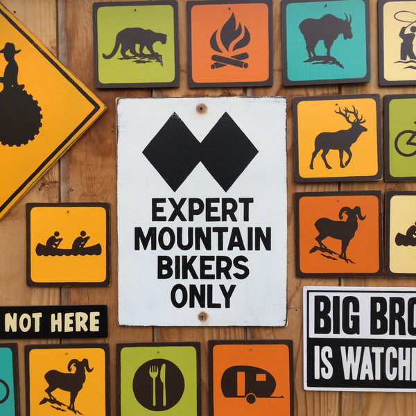 Expert Mountain Bikers Only Trail Sign | Handmade Vintage | Bicycle Trail Sign | Mountain Bike | Outdoors Sport | Bike Riding | Cycling