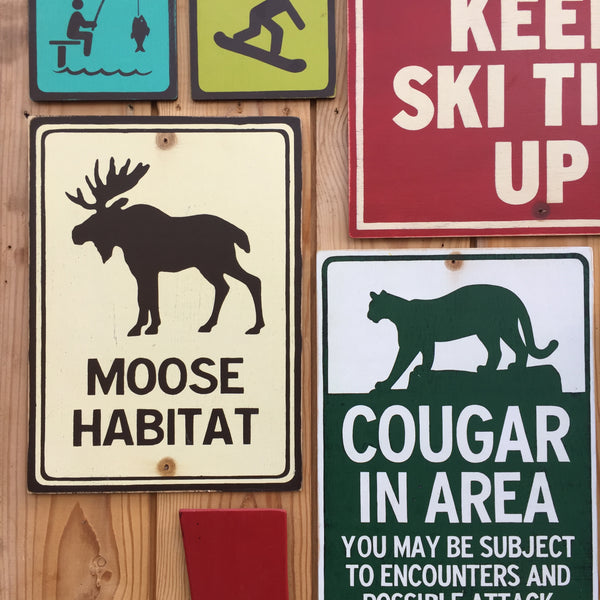 Moose Habitat Park Sign | Handmade Vintage | Mountain Wildlife Sign | National Park | State Park | Provincial Park | Outdoors | Animal
