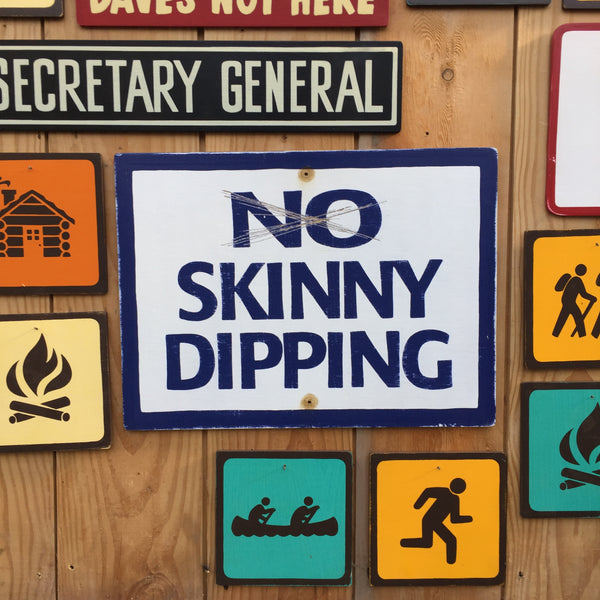 No Skinny Dipping Sign | Handmade Vintage | Lake Sign | Beach Sign | Nude Beach | Skinny Dipping | Swimming | Water