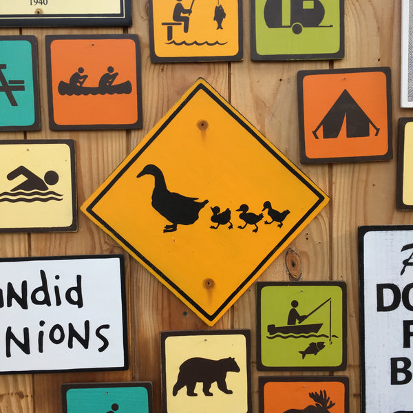 Duck Crossing Road Sign | Handmade Vintage | Highway Sign | Ducklings | Animal | Birds | Crossing Sign