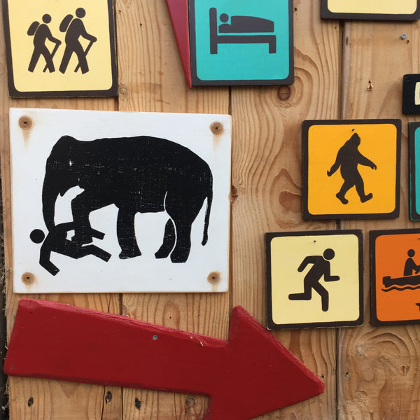 Elephant Warning Sign | Handmade Vintage | Thailand Work Elephant Sign | Animal | Elephant Trample Sign