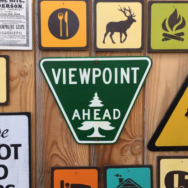 Viewpoint Ahead Highway Sign | Handmade Vintage | Authentic Viewpoint Ahead Road Sign