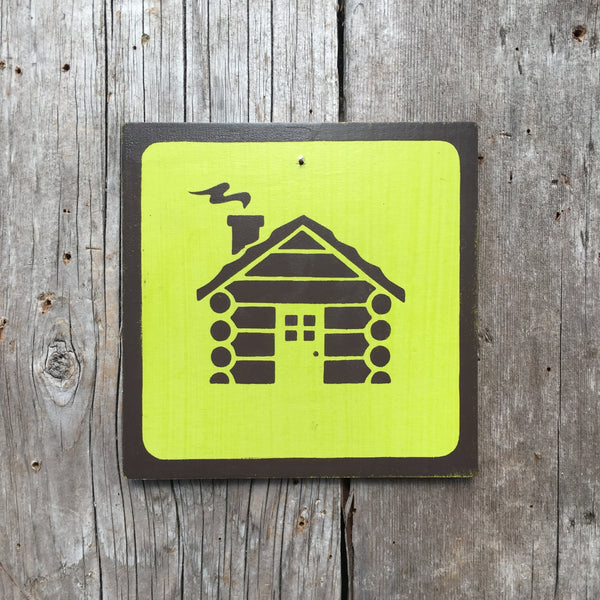 "Park Camping Icon Sign ""Cabin"" 