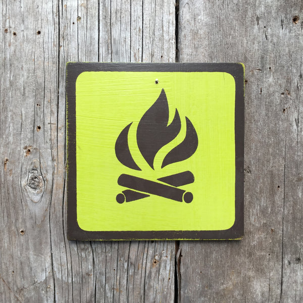 "Park Camping Icon Sign ""Campfire"" 