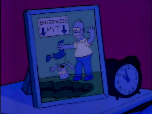 Simpsons bottomless pit sign