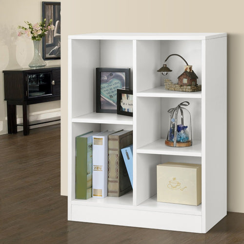 LANGRIA Classic Minimalist Cabinet Shelving Unit Storage Rack Organizer with 5 Compartments White/Black Walnut for Home Office