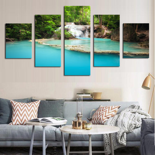5 Panels Modern Blue Lack HD Picture Canvas Print Painting Canvas Wall Art for Wall Decor Home Decoration Artwork