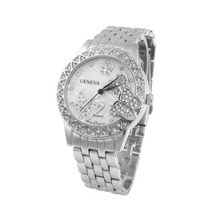 Luxury Fashion Ladies Rose Gold Sliver Stainless Crystal Watch