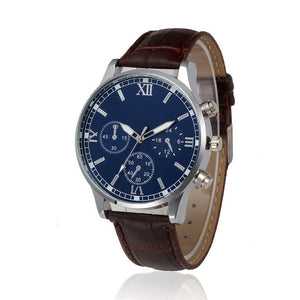 Retro Design Men's Watch with Leather Band Analog Alloy