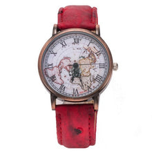 Retro Men or Women's World Map Pattern Analog Leather Quartz