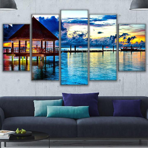 Home Decor Living Room Canvas HD Prints/Tropical Water Bungalows Painting Beach Paradise Poster Wall Art Frame