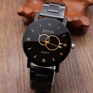 Designer Black Stainless Steel Band Round Dial Quartz Women's Watch