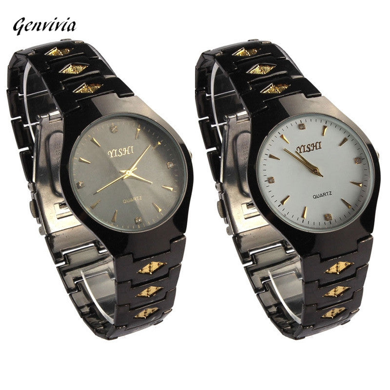 GENVIVIA Men's Elegant Black Stainless Steel Quartz Watch