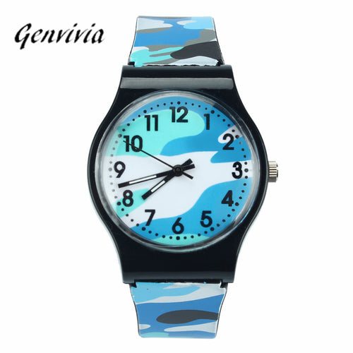 GENVIVIA Brand Kids Watches Montre Enfant Garcon Waterproof 2017 Camouflage Children Watch Quartz Wristwatch For Girls Boys