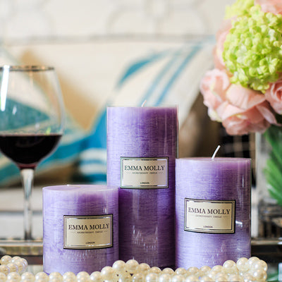3pcs Scented Candles Romantic Purple Lavender Aromatherapy Pillar Candle