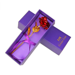 24K Foil Plated Rose Gold Rose Colorful Artificial Flower