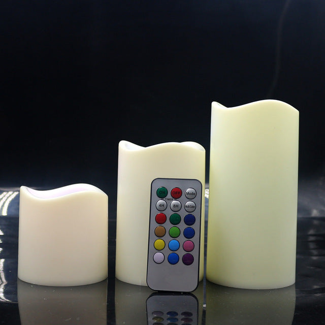 3pcs Flameless LED Candle Lamp Remote Control LED Candle Operated