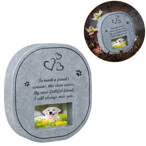 UEETEK Pet Memorial Stone with Photo Frame Paw Print for Dogs and Cats
