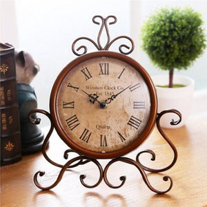 European Style Retro Antique Vintage Wrought Iron Craft Table Clock for Home Desk Cabinet Decoration