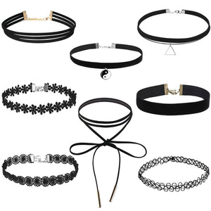 FENICAL 8pcs Velvet Collar Choker Necklace for Girls Lace Choker Tassel Gothic Tattoo Necklace
