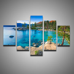 5 Piece Set Painting Lake Tahoe Sunset Sand Harbor Beach Canvas Pictures Quality Decorative Art Photos For Room Walls No Frame