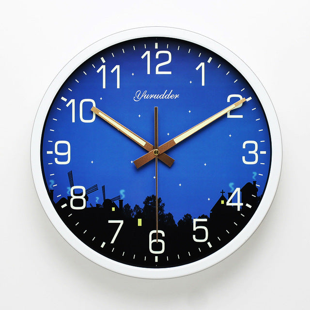 LUMINOVA Decorative Wall Clock/12 Inch Night Star Design Metal Frame