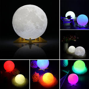 3D RGB Print LED Moon Light, Magical Night Light Desk Lamp USB Rechargeable Light Multi-color.Support Remote Control and Touch Control Home Decoration Full Moon Print Light Personality Creative Lunar Lamp For Home, Party, Shopping Mall, Restaurants D