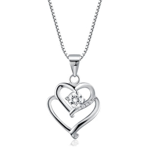 925 sterling silver necklace girls clavicle chain simple love diamond studded