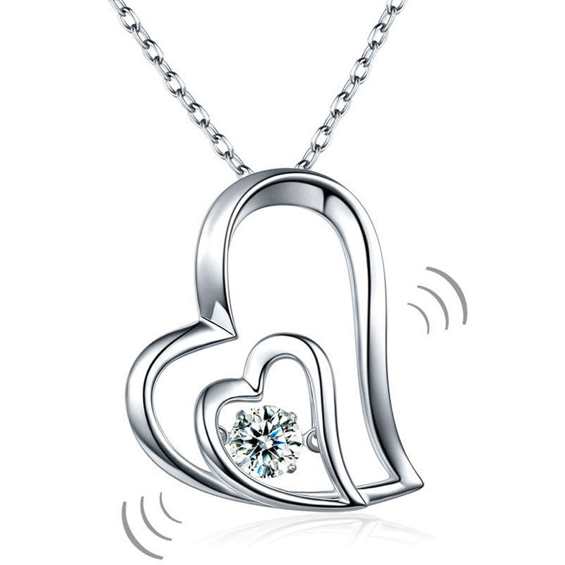 Dancing Stone Double Heart Pendant Necklace 925 Sterling Silver