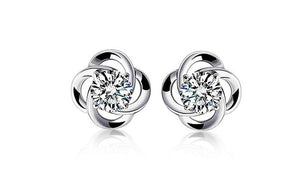 Women's Lucky Clover Sterling Silver Stud Earrings with Rhinestone