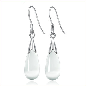 Excellent Water Drop Opal Sterling Silver Dangle Earrings