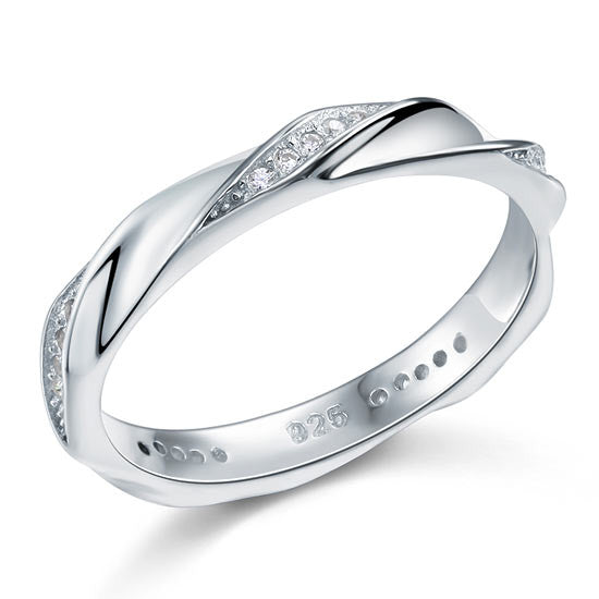 Simulated Diamond Sterling Silver Twist Ring