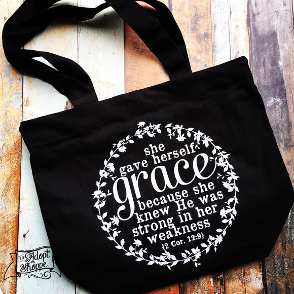 she gave herself GRACE black fair trade tote bag