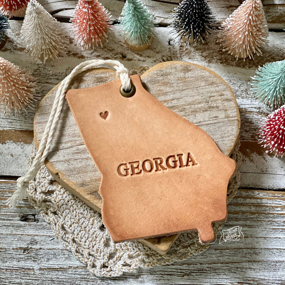 leather ornament Georgia state HOME (natural unpainted)