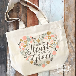 tune my heart hymn fair trade tote bag